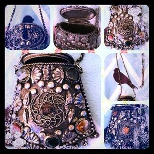 Jewelry - VTG Silver Filigreed  Mini Bag Embedded w Gems